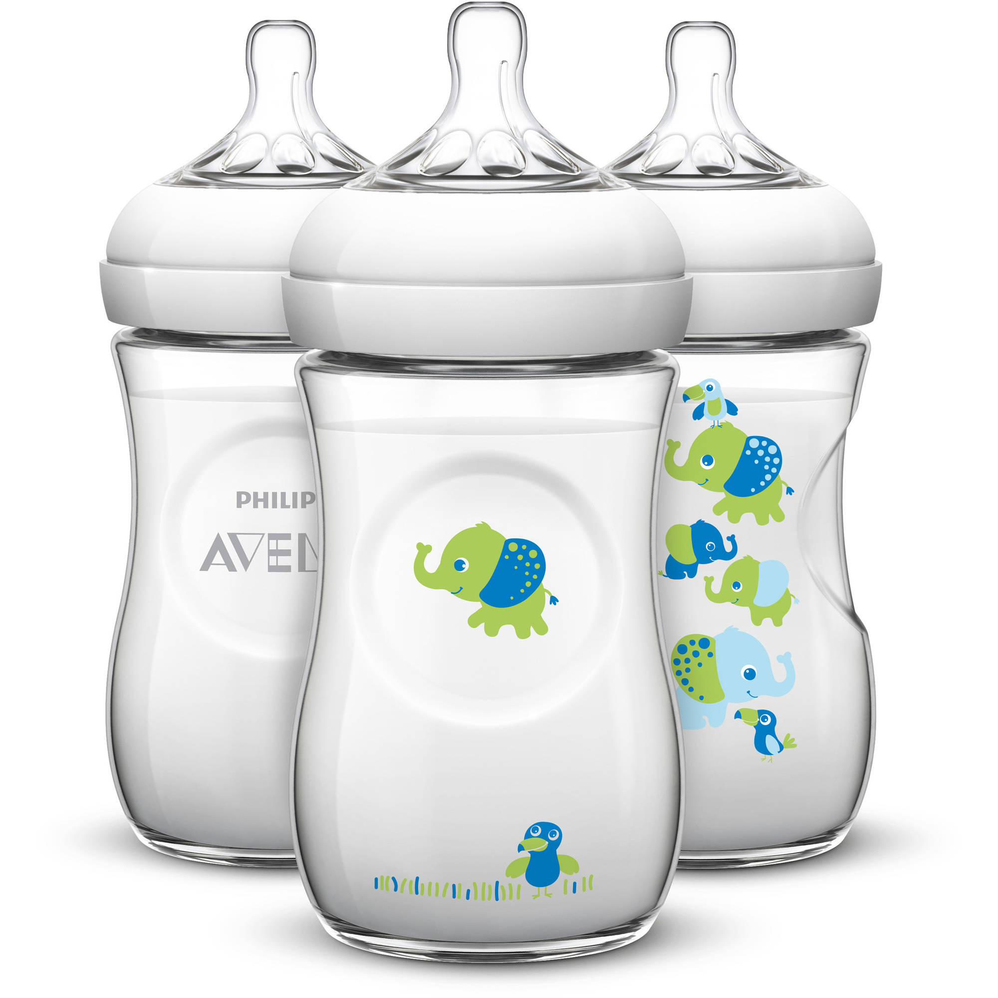 Philips Avent BPA-Free Natural Boy Safari Baby Bottles, 9 Ounce, 3 Pack