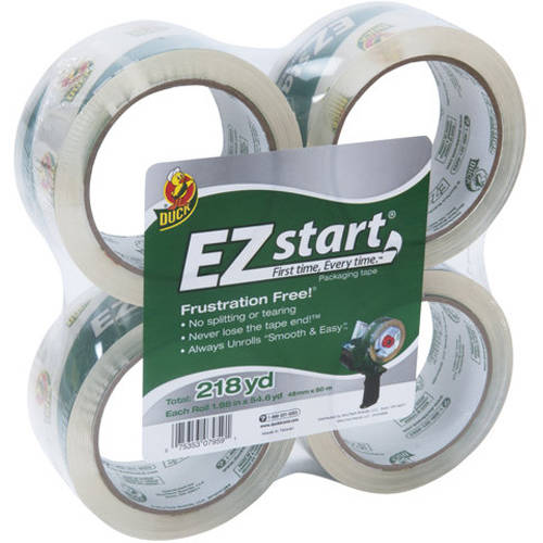 "Duck Brand EZ Start Packaging Tape, 1.88"" x 54.6 yd, 4 pack, Clear"
