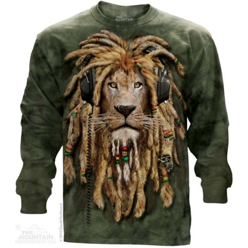 The Mountain Green/Brown Cotton Dj Jahman Animal Adult Long Sleeve T-Shirt (2X)