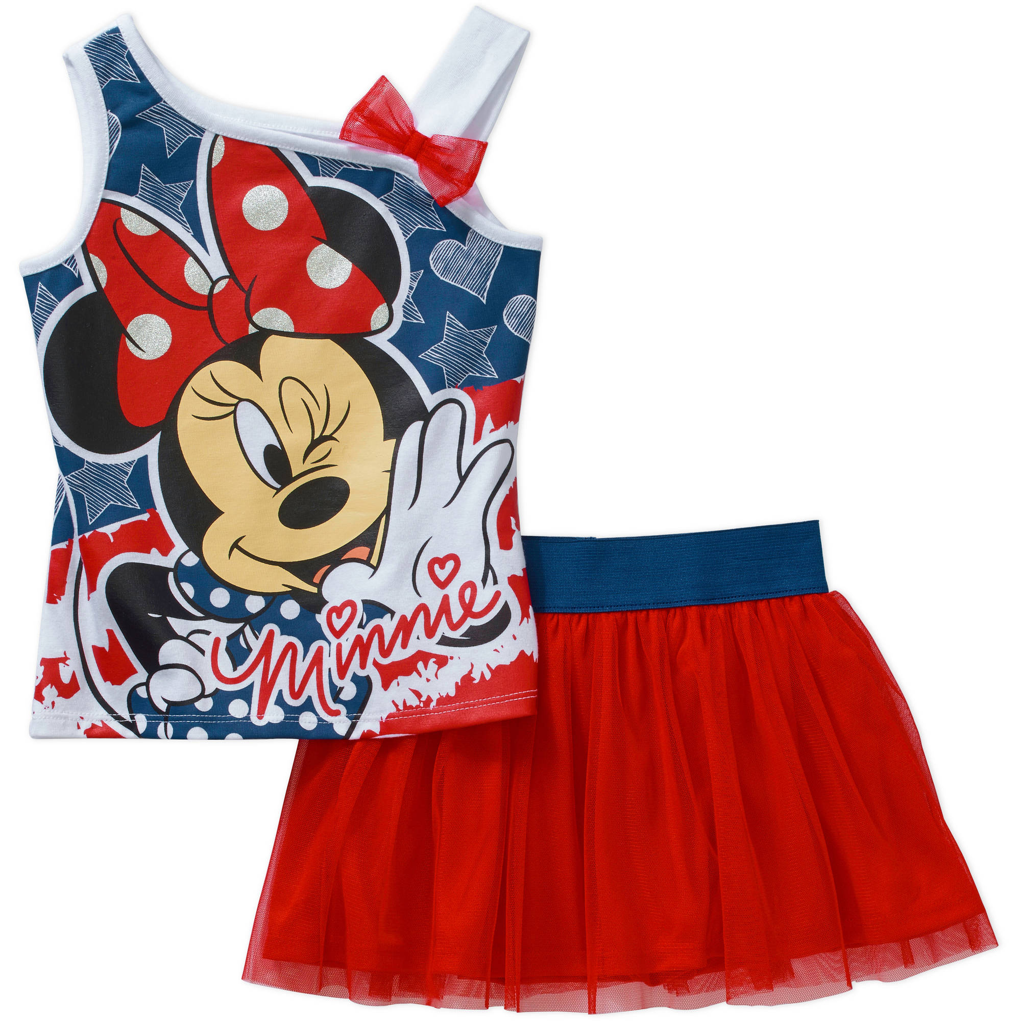 Minnie Mouse Baby Toddler Girl Tank and Skirt Outfit Set