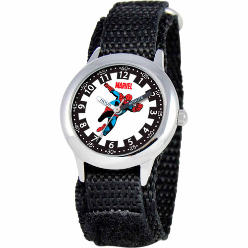 Marvel Spider-Man Boys' Stainless Steel Watch, Black Strap