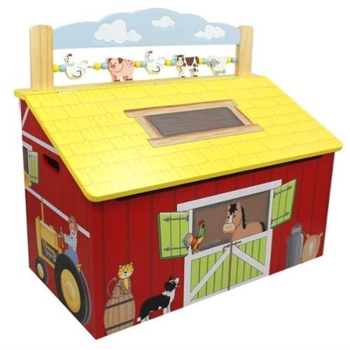 Teamson Kids Wooden Toy Box - Happy Farm Room Collection