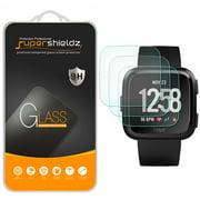 [3-Pack] Supershieldz for Fitbit Versa Tempered Glass Screen Protector, Anti-Scratch, Anti-Fingerprint, Bubble Free