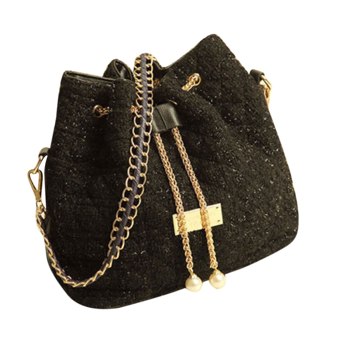 Antje Ladies Shoulder Chain Drawstring Bucket Bag Black