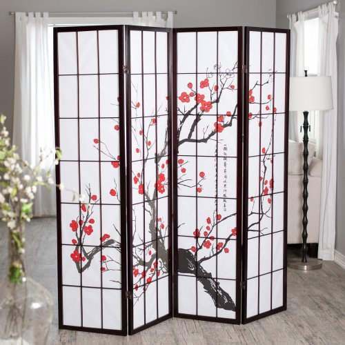 Cherry Blossom Rosewood 4 Panel Room Divider