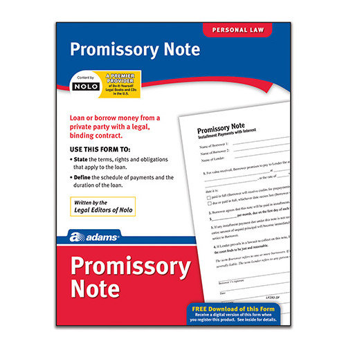 Adams Business Forms Promissory Note Forms and Instruction (Set of 6) (Set of 288)