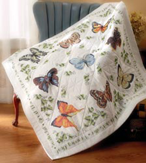 "Bucilla   Stamped Cross Stitch Lap Quilt Kit by Plaid, Butterfly Collection, 45"" x   45"""