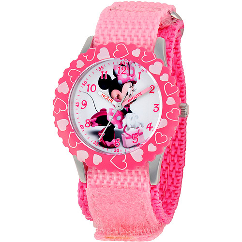 Disney Minnie Mouse Girls' Stainless Steel with Bezel Watch, Pink Nylon Strap