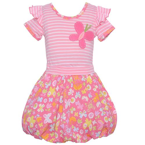Baby Lulu Little Girls Pink Floral Butterfly Print 2 Pc Bubble Skirt Set 6X