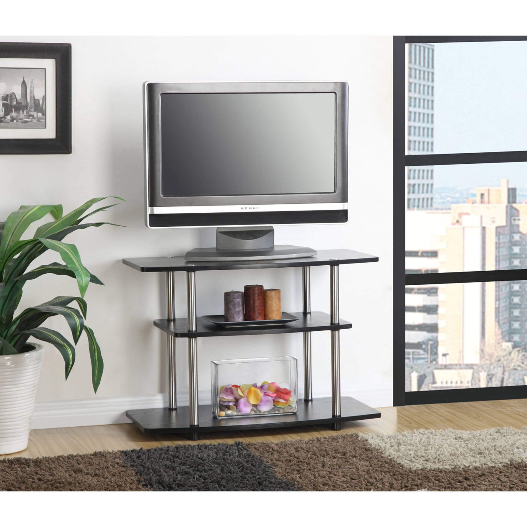 "Designs 2 Go Three-Tier TV Stand, for TVs up to 32"" by Convenience Concepts, Multiple Colors"