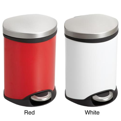 Safco Ellipse 1 1/2 gal. Step-on Waste Receptacle Red