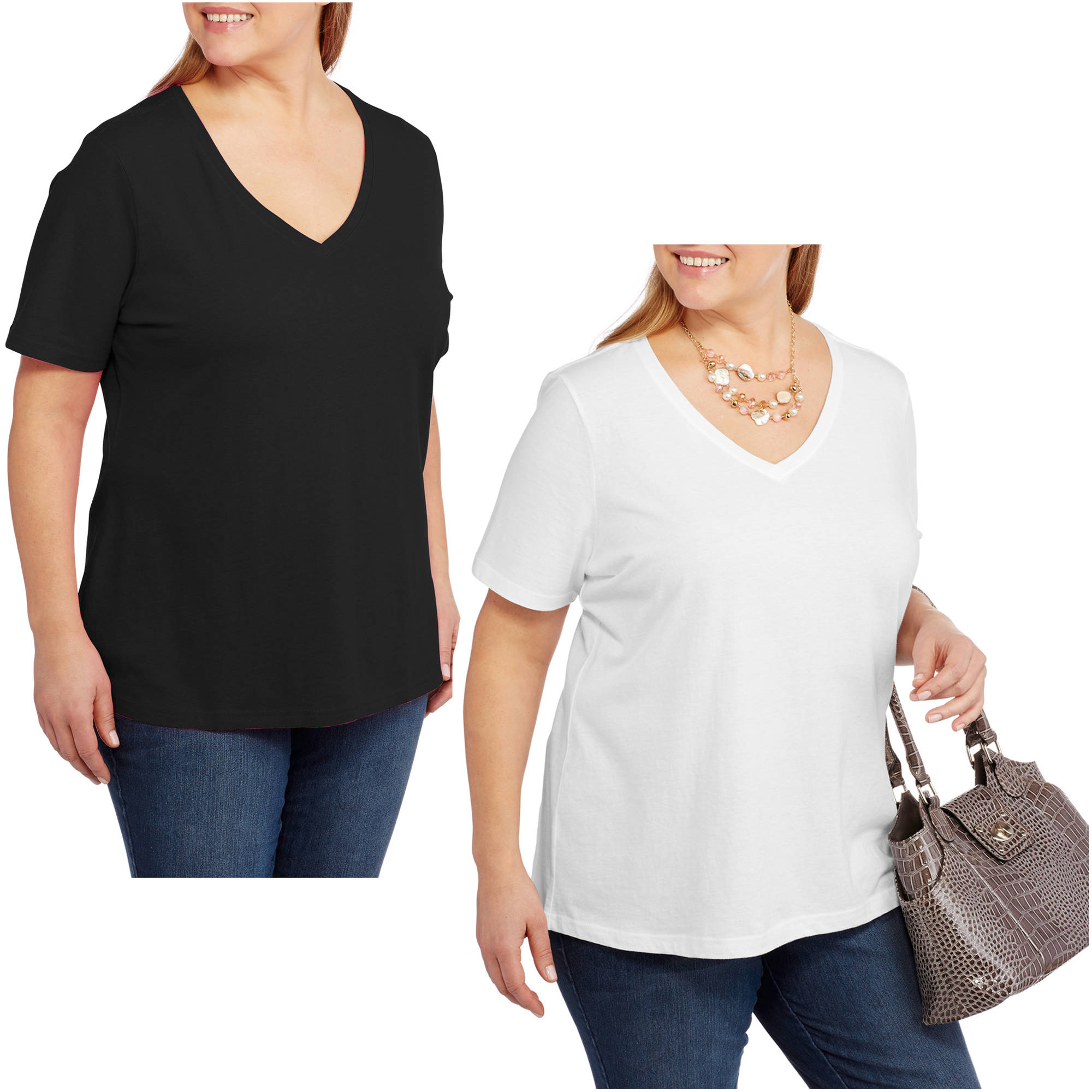 Faded Glory Women's Plus-Size Short Sleeve V-Neck Tee, 2-Pack Value Bundle