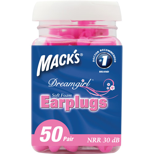Mack's Dreamgirl Soft Foam Earplugs, Pink, 50 pr