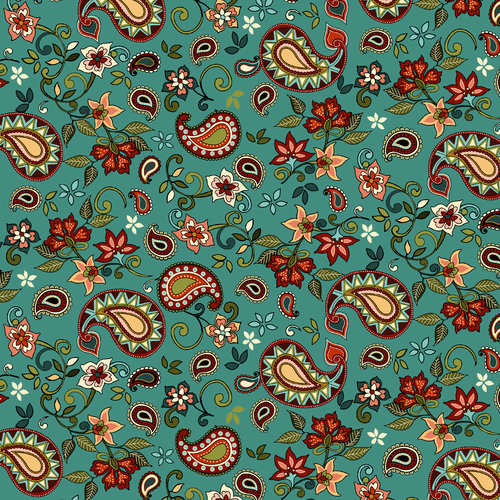 "Santa Fe Paisley Flower 44"" Cotton Fabric Print"