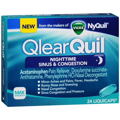 Vicks Qlearquil Nighttime Sinus And Congestion Liquicaps - 24 Ea