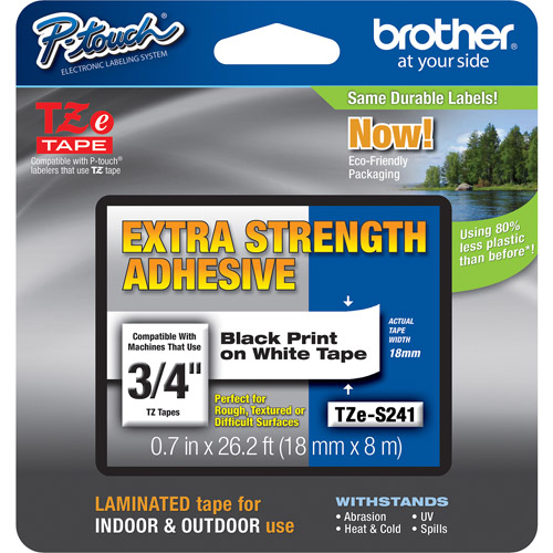 "Brother TZES241 0.75"" Black On White Extra Strength Lettering Tape"