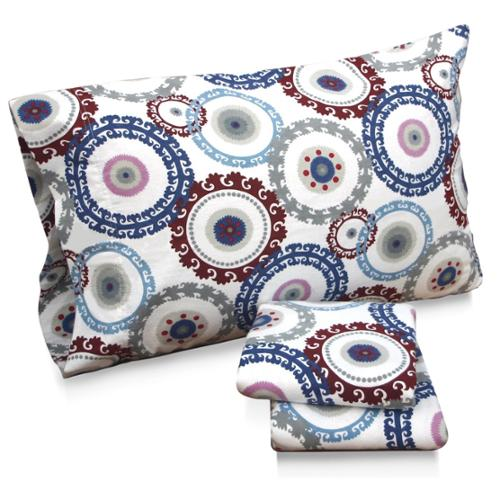 Tribeca Living Medallion Floral Printed Extra Deep Pocket Flannel Sheet Set Standard Pillowcase Set