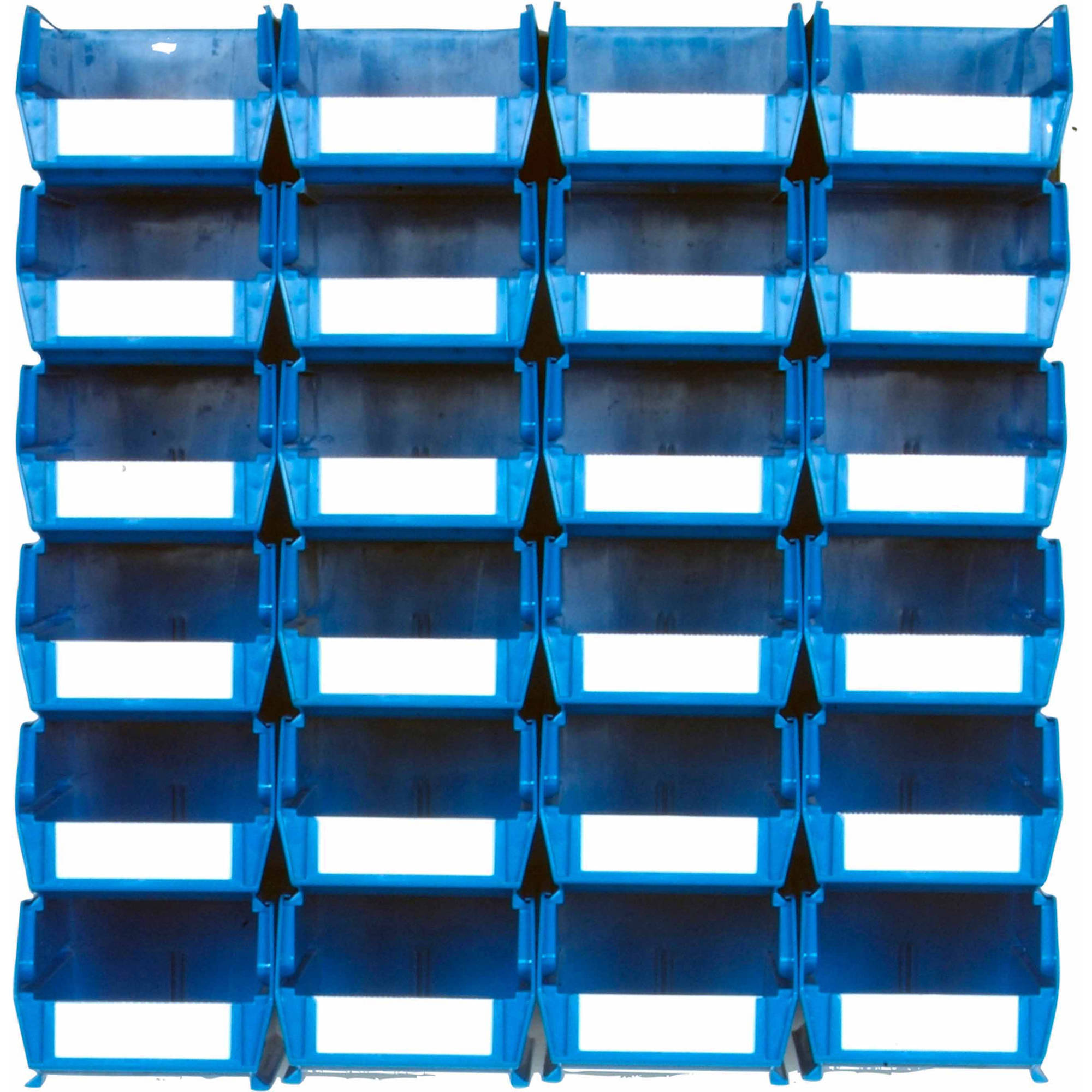 "LocBin 26-Piece Wall Storage Unit with 7-3/8""L x 4-1/8""W x 3""H Interlocking Poly Bins, 24ct, Wall Mount Rails 8-3/4""L with Hardware, 2pk"