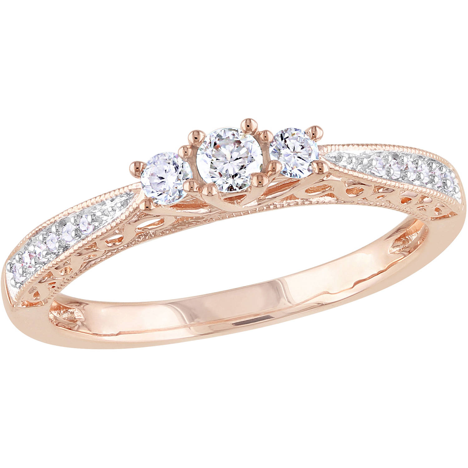 Miabella 1/4 Carat T.W. Diamond 10kt Rose Gold Three Stone Engagement Ring
