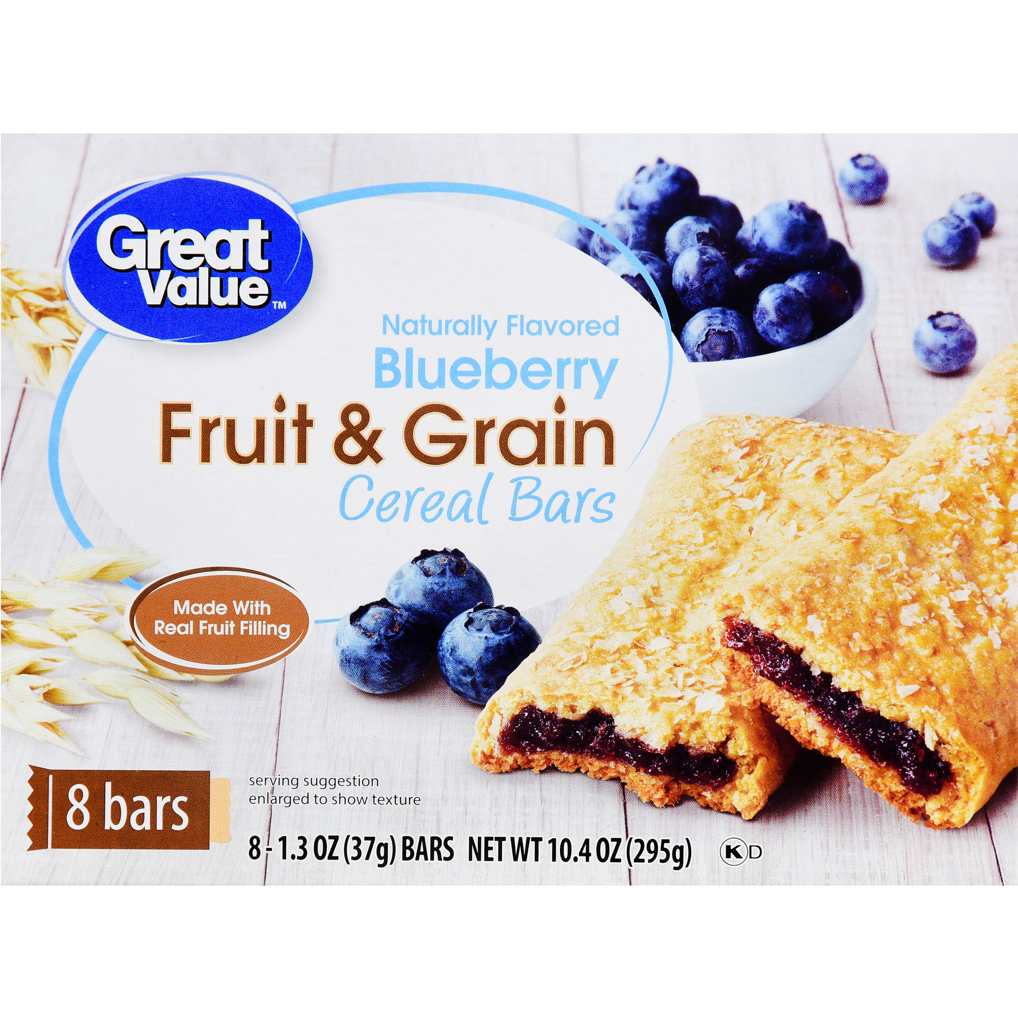 Great Value Blueberry Fruit & Grain Bars, 10.4 oz