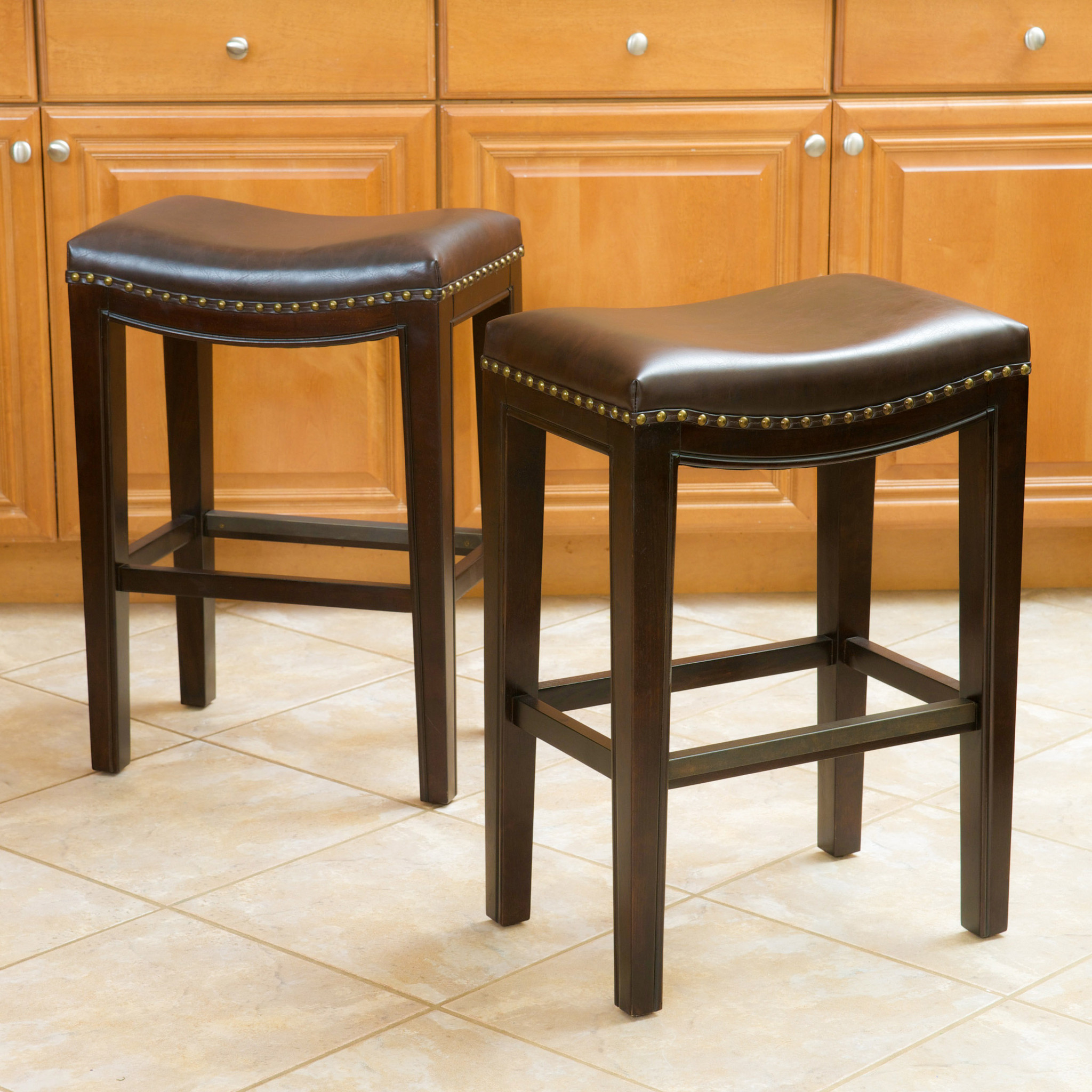 Carolina Brown Backless Counter Stool (Set Of 2)