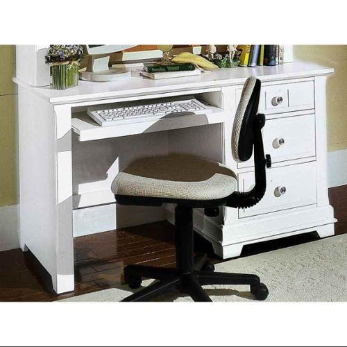 3-Drawer Pull Out Computer Desk in Snow White Finish