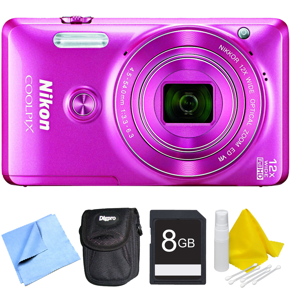 Nikon COOLPIX S6900 16MP 1080p HD Video Digital Camera Pink Kit with Camera, Compact Carrying Case, 8GB SD Memory Card, 3 Piece Lens Cleaning Kit, and Micro Fiber Cloth