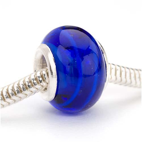 Murano Style Glass Lampwork European Style Large Hole Bead - Dark Cobalt Blue Stripe 14mm (1)