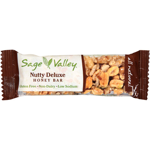 Sage Valley Nutty Deluxe Honey Bar, 1.4 oz, (Pack of 12)