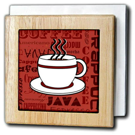 3dRose Coffee Lover Gift - Coffee Words Print - Red, Tile Napkin Holder, 6-inch