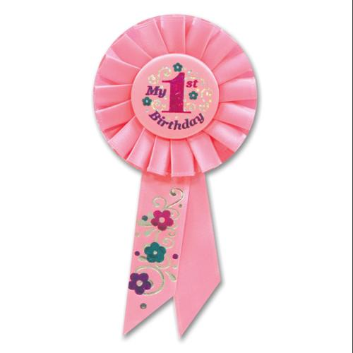 "Pack of 6 Light Pink ""My 1st Birthday"" Party Celebration Rosette Ribbons 6.5"""