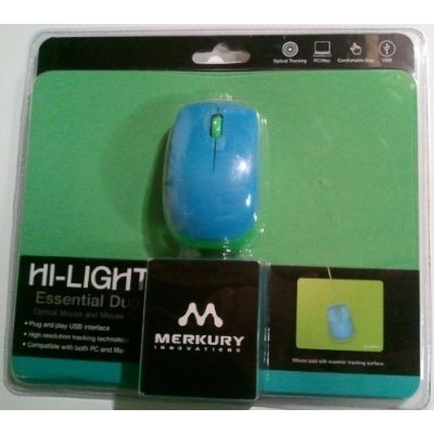 Refurbished mini mouse and mouse pad combo - Neon blue mouse and green pad