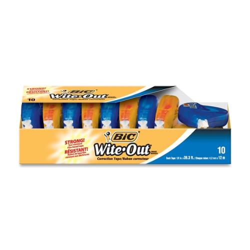 "BIC Wite-Out Correction Tape - 0.16"" Width x 39.33 ft Length - 1 Line(s) - White Tape - Odorless, Tear Resistant, Photo-"
