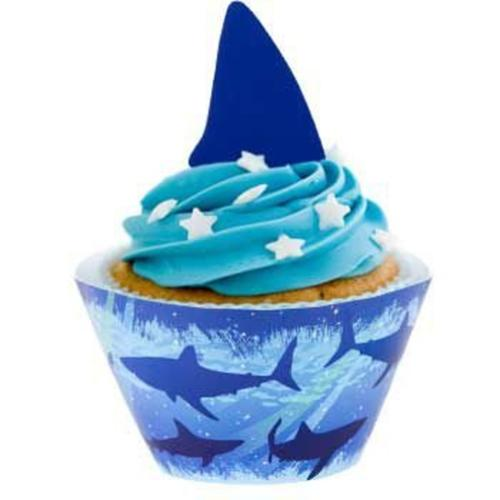 Shark Cupcake Wraps With Picks - Party Supplies