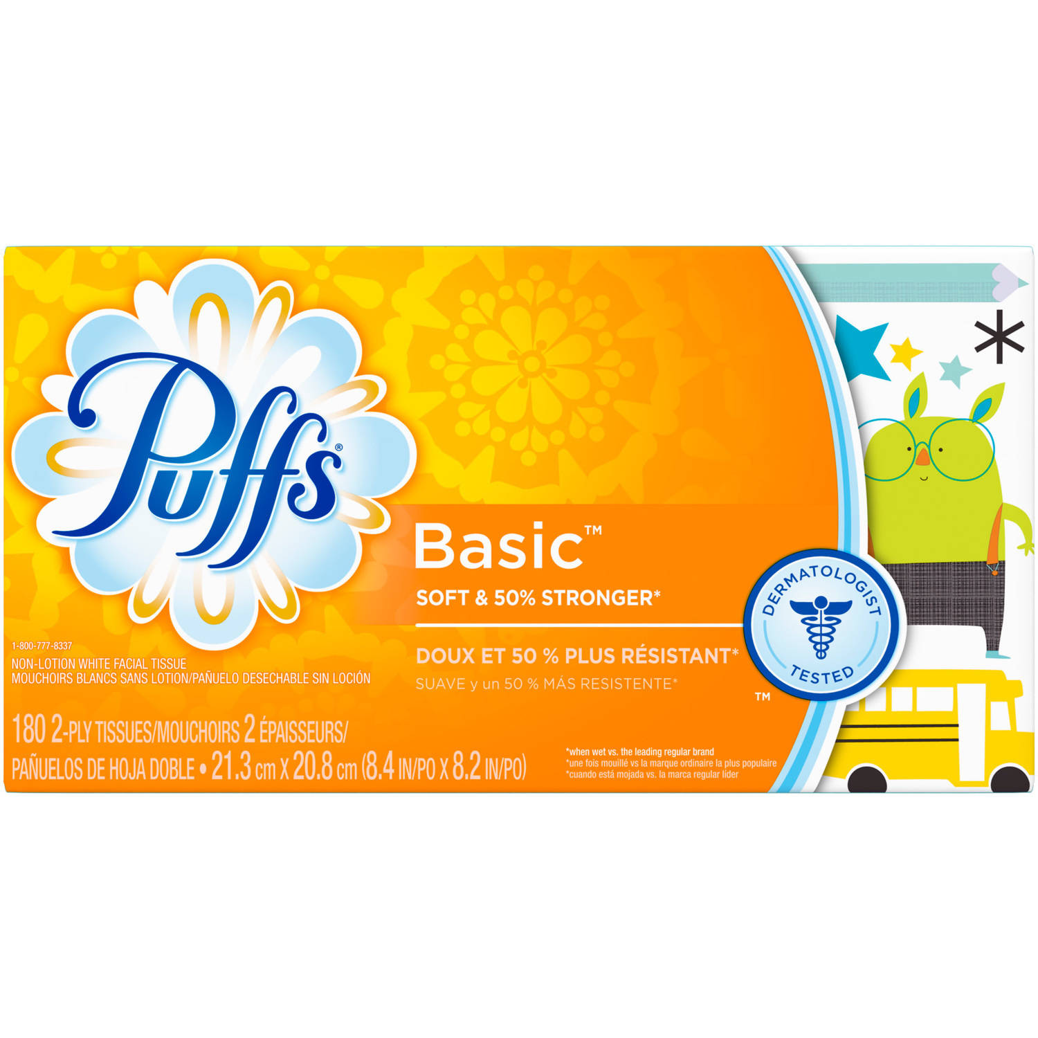 Puffs Basic Facial Tissues, 1 family box, 180 tissues per box