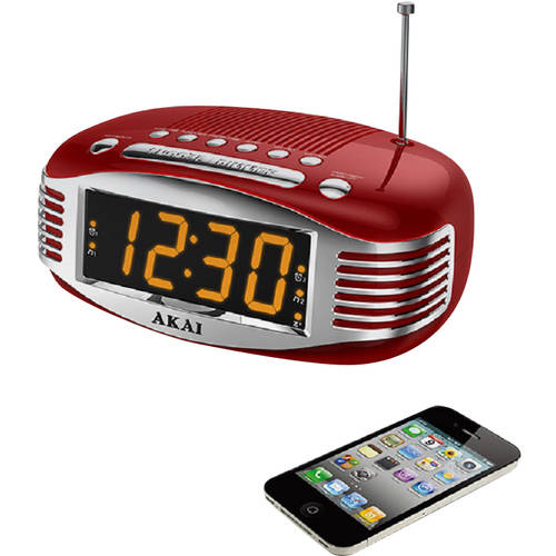 AKAI Retro AM/FM PLL Alarm Clock Radio, Red