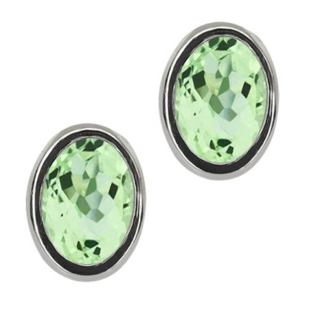 2.00 Ct Oval Green Amethyst Sterling Silver bezel Stud Earrings 7x5mm