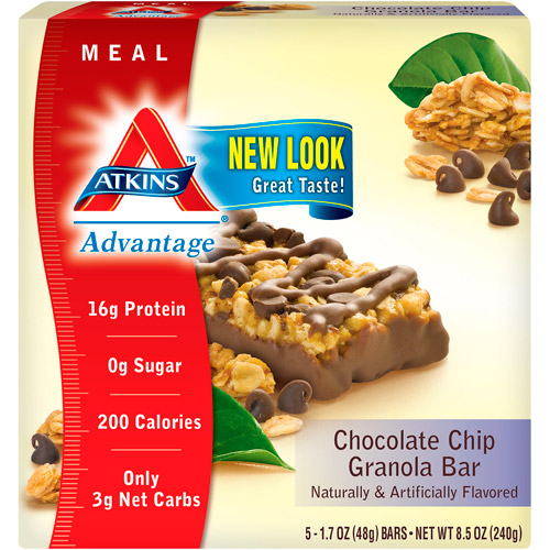 Atkins Advantage Granola Bar Chocolate Chip, 5ct