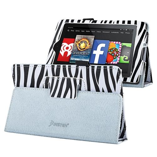 Insten For 2014 Amazon Kindle Fire HD 6 Folio PU Leather Case Smart Cover Stand Black Zebra