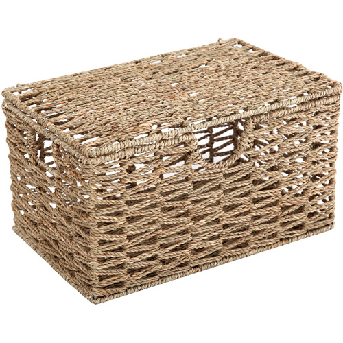 Mainstays Lidded Seagrass Basket, Natural
