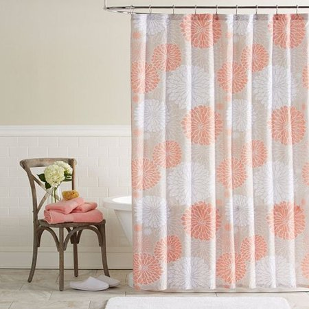 classics priscilla peach tan floral fabric shower curtain bath decor