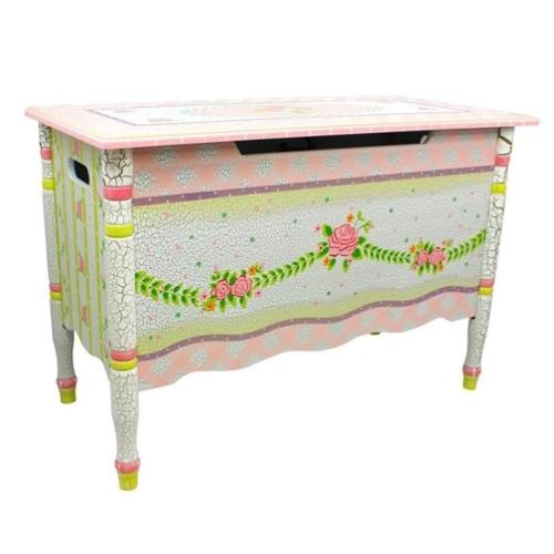 Girls Toy Chest w Pink Crackle Finish