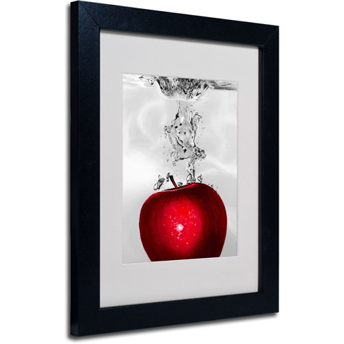 Trademark Art 'Red Apple Splash' Framed Matted Art by Roderick Stevens