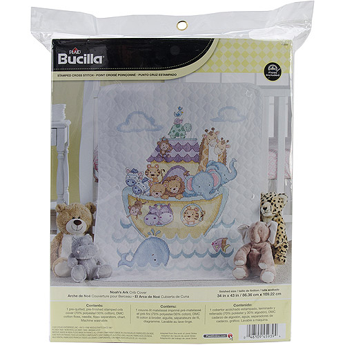 "Noah's Ark Crib Cover Stamped Cross Stitch Kit, 34"" x 43"""