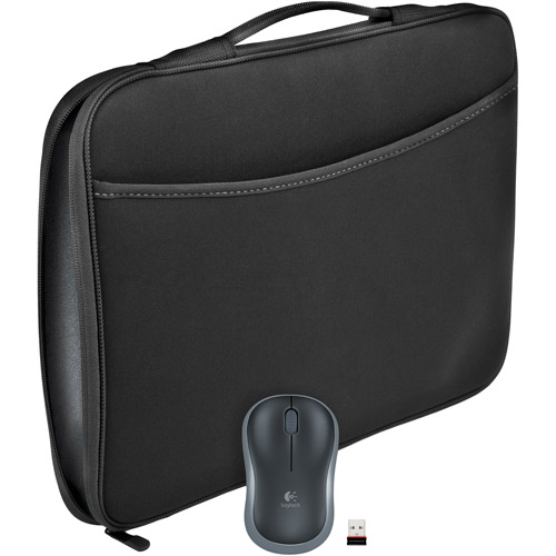 Logitech M185 Mouse and Laptop Sleeve Combo, Black