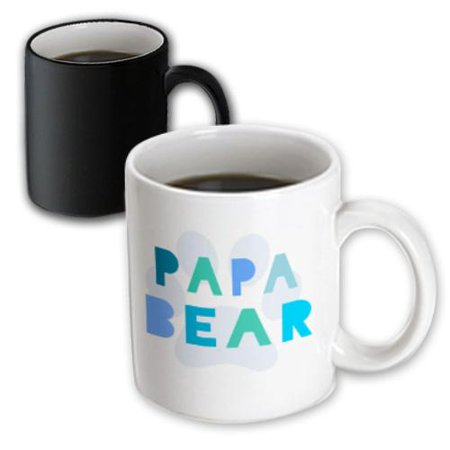 3dRose Papa bear - blue teal turquoise text paw print for dad or new daddy fathers day - part of family set, Magic Transforming Mug, 11oz