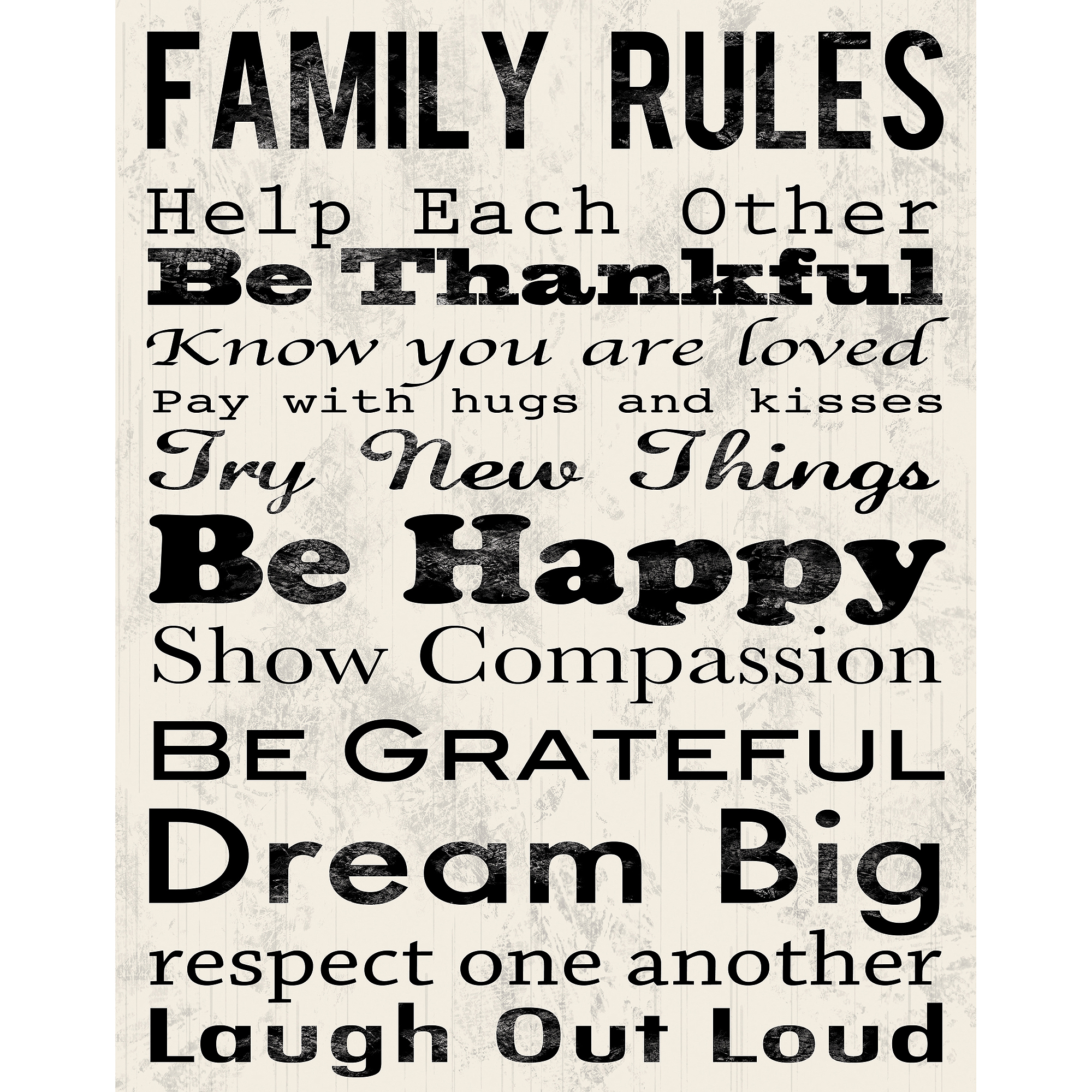 Family Rules B Canvas Wall Art, 15  x 19