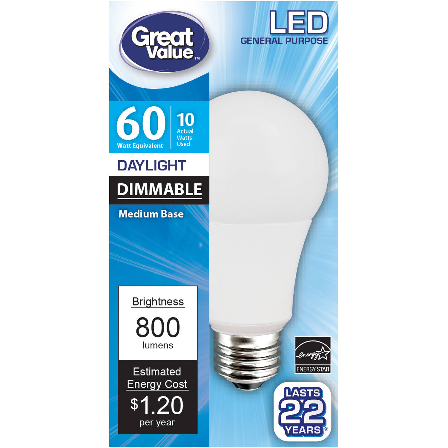 Great Value LED Light Bulb 10W (60W Equivalent) Omni (E26) Dimmable, Daylight