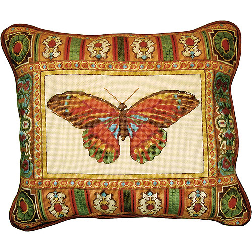 "M C G Textiles Butterfly With Mosaic Border Needlepoint Kit, 14"" x 17"", Stitched In Floss"