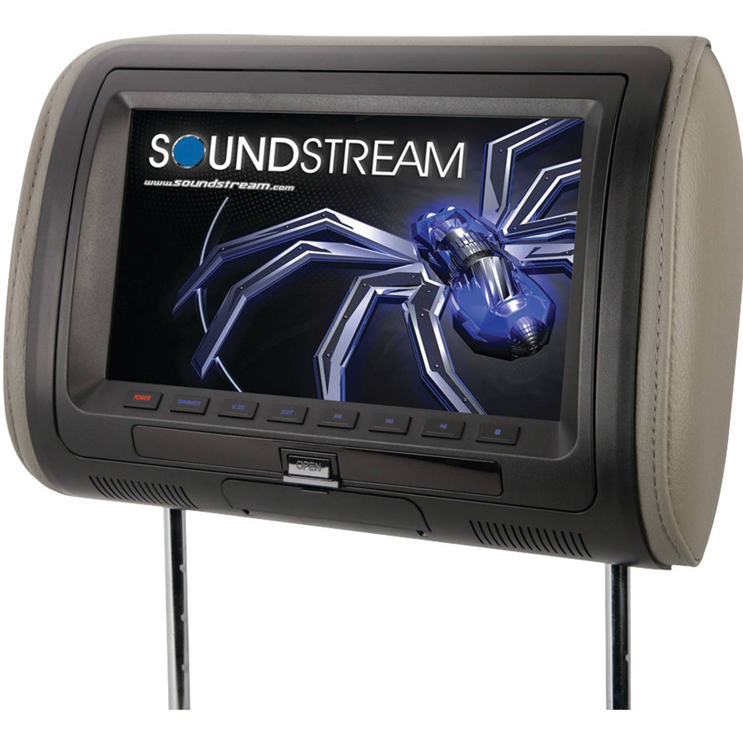 "Soundstream VHD-90CC 9"" Universal Headrest Monitor with DVD Player, IR and FM Transmitters and Interchangeable Skins"